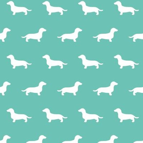 Dachshund Silhouettes on Turquoise