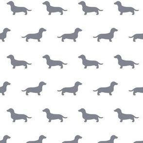 Dachshund Cool Grey Silhouettes