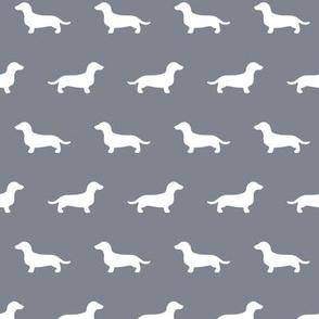 Dachshund Silhouettes on Cool Grey