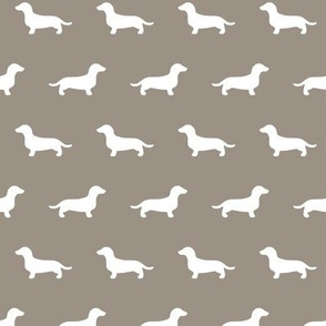Dachshund Silhouettes on Warm Grey
