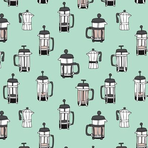 Cool minty barista coffee maker illustration pattern