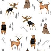 Lumberjack Animals / Nursery boys/ Animal Fabric/ Bear Woodland Fabric/  Moose / Modern  Fabric for boys