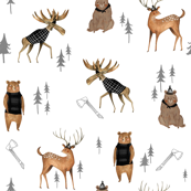 Lumberjack Animals / Nursery boys/ Animal Fabric/ Bear Woodland Fabric/  Moose / Modern  Fabric for boys