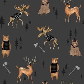 Dark Lumberjack Animals / Nursery boys/ Animal Fabric/ Bear Woodland Fabric/  Moose / Modern  Fabric for boys
