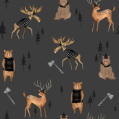 Dark Lumberjack Animals / Nursery boys/ Animal Fabric/ Bear Woodland Fabric/  Moose / Modern  Fabric for boys