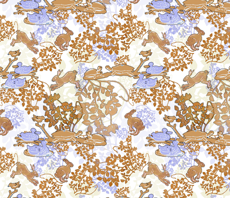 Blockprint Hare & Turtle fabric by herbal_things on Spoonflower - custom fabric