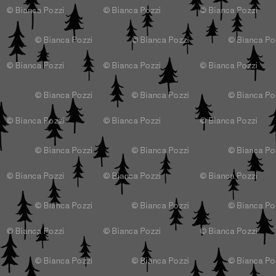 Black trees / Forest Tress/ Woodland forest trees/ boys fabric/ dark gray forest / minimal fabric