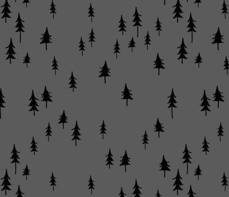 Black trees / Forest Tress/ Woodland forest trees/ boys fabric/ dark gray forest / minimal fabric  fabric by bianca_pozzi on Spoonflower - custom fabric