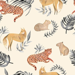 Modern Tropical Jungle Fabric/ Cream and black anial fabric/ Leopard Jaguar Capybara Wolf Fox / Cream and black/ Tropical Jungle/ Exotic animals