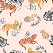 Modern Tropical Jungle Fabric/ Cream and black anial fabric/ Leopard Jaguar Capybara Wolf Fox / Cream and black/ Tropical Jungle/ Exotic animals