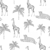 Giraffe and Jaguar Hand Drawn Ink Minimal black and white fabric  Tropical minimal black and white  Animals tropical hand drawn  Ink drawing animals