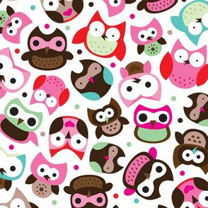 Colorful owls summer birds little girls illustration design