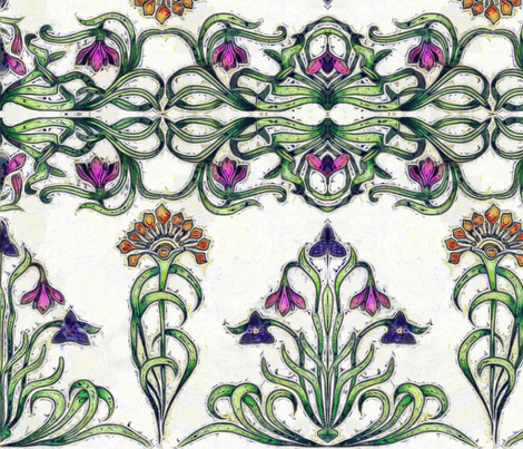 Art Deco flowers 1a fabric by zwolf73 on Spoonflower - custom fabric