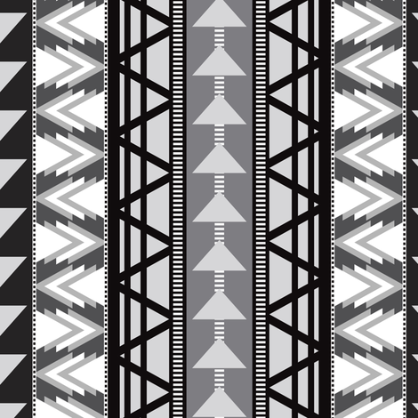 Triangle Kilim in Grayscale fabric by elliottdesignfactory on Spoonflower - custom fabric