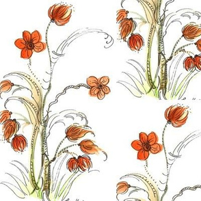 watercolor whimsey flower with red orange flowers