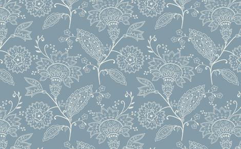 Crewel Work Allover Blue fabric by littlerhodydesign on Spoonflower - custom fabric