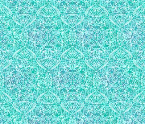 Floral Ethnic - Aqua fabric by samalah on Spoonflower - custom fabric