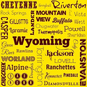 Cities of Wyoming, yellow and brown
