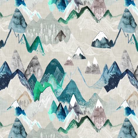 Call of the Mountains (evergreen) SMALL fabric by nouveau_bohemian on Spoonflower - custom fabric
