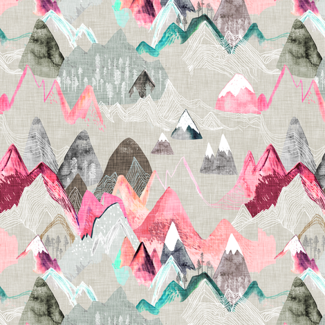 Call of the Mountains (pink) SMALL fabric by nouveau_bohemian on Spoonflower - custom fabric