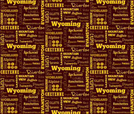 Wyoming cities,  brown with yellow fabric by svester on Spoonflower - custom fabric