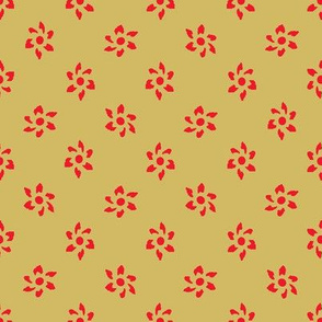 Zodiac Flowers Gold Red