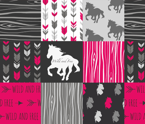 Wild and Free Horses - Fuchsia, Black, And Grey fabric by sugarpinedesign on Spoonflower - custom fabric