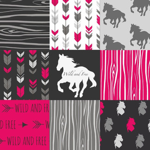 Wild and Free Horses - Fuchsia, Black, And Grey