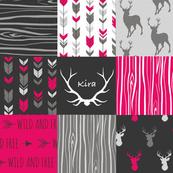 Kira fuchsia Patchwork deer
