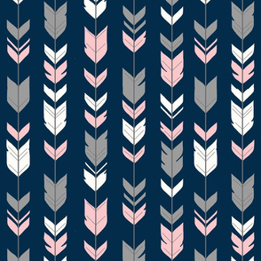 Arrow Feathers - pink, grey, white on navy