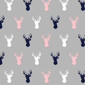 Deer- pink, navy, white on grey