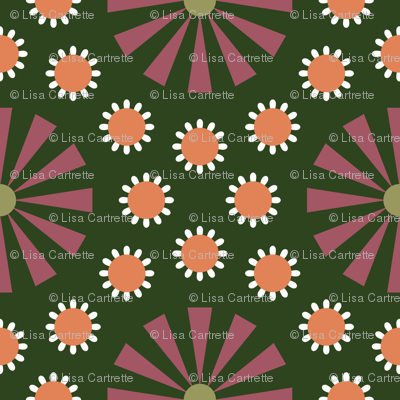 Art Deco Floral Green