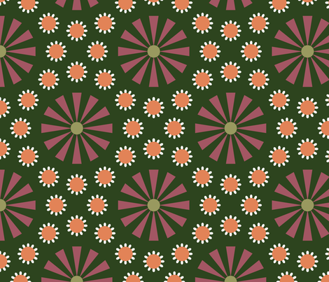 Art Deco Floral Green fabric by bashfulbirdie on Spoonflower - custom fabric
