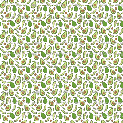 Avocado  Fabric on White Tiny Small 0,5 inch