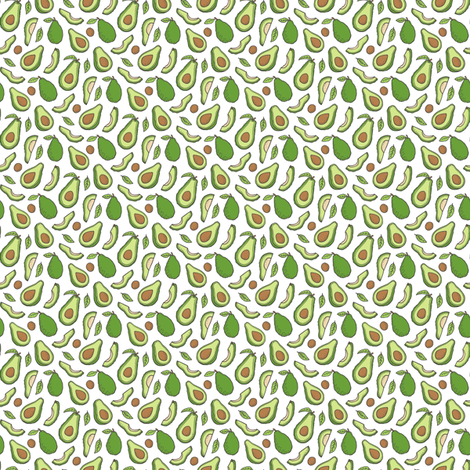 Avocado  Fabric on White Tiny Small 0,5 inch fabric by caja_design on Spoonflower - custom fabric