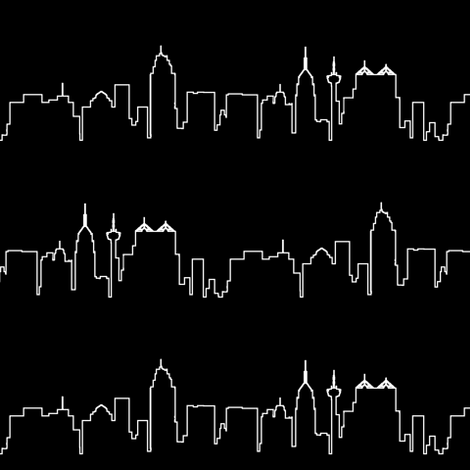 San Antonio, TX Outline // Black fabric by thinlinetextiles on Spoonflower - custom fabric