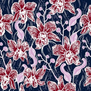 Beautiful Hand drawn Orchid and Navy