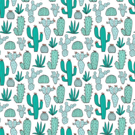 Cactus in Mint,Green & Blue Smaller 1,5 inch fabric by caja_design on Spoonflower - custom fabric