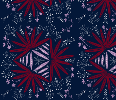 Midnight fern - Navy  fabric by youdesignme on Spoonflower - custom fabric