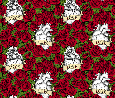 Heart and Roses_Love fabric by mia_valdez on Spoonflower - custom fabric