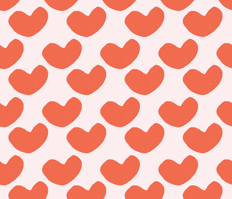 Stamped Abstract Hearts // Orange on Pink fabric by beshkakueser on Spoonflower - custom fabric