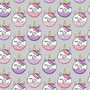 (small scale) unicorn donuts (pink and purple) grey