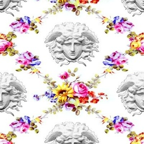 floral flowers victorian trellis interlinked  connected medusa versace inspired  baroque rococo roses leaves leaf colorful rainbow criss cross interconnected Greek Greece gorgons mythology vines