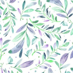 Watercolor Leaves & Branches in Greens, Teals, Purples and Blues, SCALE C