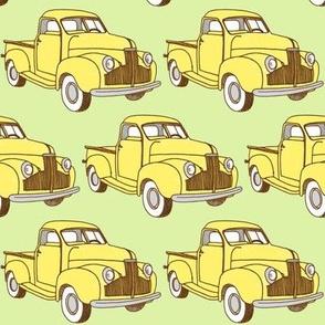 yellow M Series Studebaker pick up truck