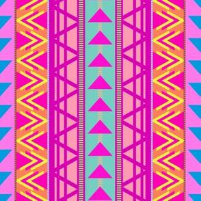 Triangle Kilim in Rainbow Neon Multi