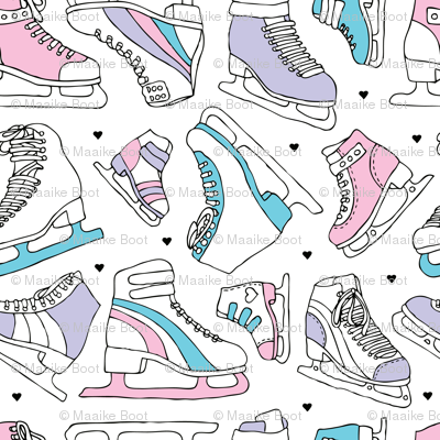 Ice skate lovers cool winter ice skating illustration design blue pink