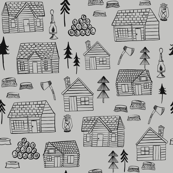 Wood Cabins Gray / Wooden Cabins Woodland Forest / Lumberjack/ Black and white fabric/ Minimal black and white/