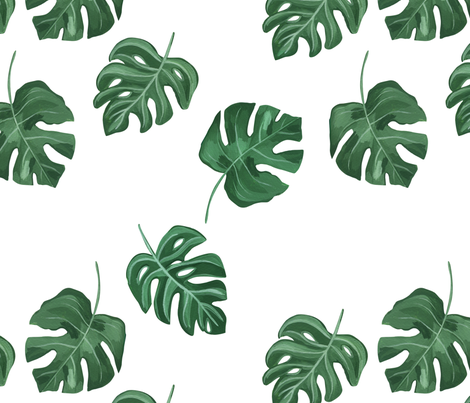 31a82314 Monstera Leaf / Tropical Leaf/Hand painted tropical leaf/Foliage fabric  fabric by bianca_pozzi