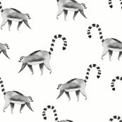 Lemur animal black and white/ Hand painted lemur fabric/ Tropicla jungle animal